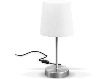B.K.Licht Tischleuchte, LED Nachttischlampe mit Schalter E14 IP20 Stoff taupe matt-nickel, weiß, weiß