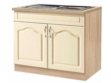 wiho Küchen Spülenschrank »Linz« 100 cm breit, inkl. Einbauspüle, gelb, Vanille