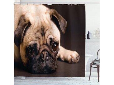 Abakuhaus Duschvorhang »Moderner Digitaldruck mit 12 Haken auf Stoff Wasser Resistent« Breite 175 cm, Höhe 180 cm, Mops Welpen-Fotografie Tiere