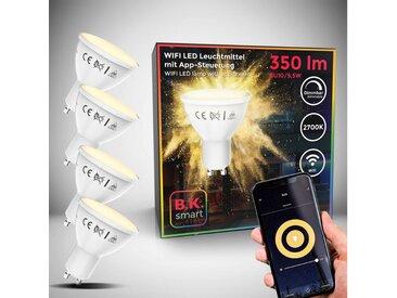 B.K.Licht LED-Leuchtmittel, GU10, 4 Stück, Warmweiß, App- Sprachsteuerung Alexa Google Home I iOS & Android I WLAN Glühbirne I Smartes Leuchtmittel