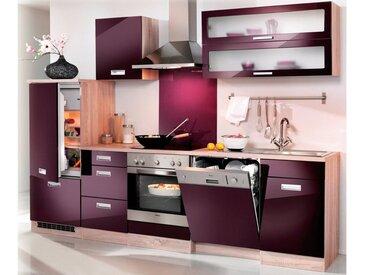 HELD MÖBEL Küchenzeile »Fulda«, ohne E-Geräte, Breite 280 cm, lila, eichefarben/auberginefarben
