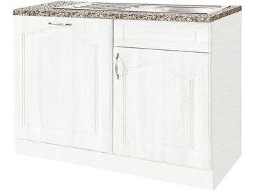 wiho Küchen Spülenschrank 110 cm breit, inkl. Tür für Geschirrspüler, weiß, Weiß