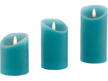 LED-Kerze (Set, 3-tlg), aus Echtwachs, mit Dimmfunktion und Timer, blau, türkis