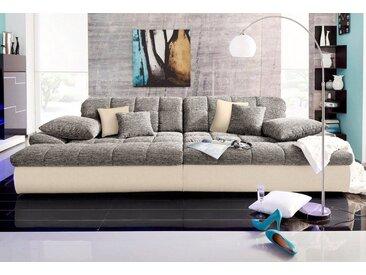 Nova Via Big-Sofa, grau, Mit Kaltschaum-ohne Kopfteilverstellung-ohne Beleuchtung, creme-grau