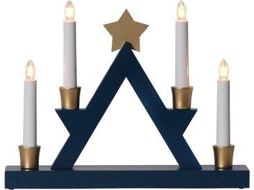 """STAR TRADING LED Fensterleuchter »Fensterleuchter """"Julle"""" mit Stern - 4flammig - warmweiße Glühlampen - H: 26cm - Blau/Gold«"""