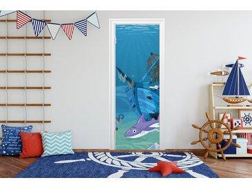 Bilderdepot24 Deco-Panel, Türaufkleber - Kinderbild Hai mit Wrack