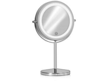 Navaris LED-Lichtspiegel, Kosmetikspiegel mit LED Beleuchtung - Spiegel mit 5fach Vergrößerung Make Up Standspiegel - Schminkspiegel beleuchtet 360° dimmbar