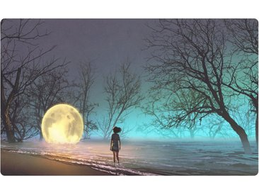 DesFoli Wandtattoo »Mystischer Wald Mond Kind Leuchtkugel R2360«