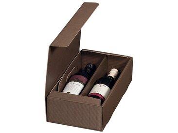 Smartbox Pro Geschenkbox (25 Stück), Geschenkverpackungen aus Wellpappe 192x 95x360mm Präsentationskarton Weinverpackung 2 Flaschen Braun, braun