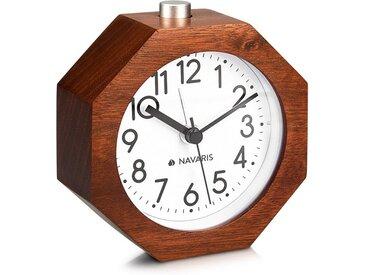 Navaris Reisewecker Analog Holz Wecker mit Snooze - Retro Uhr im Waben Design mit Ziffernblatt Alarm Licht - Leise Tischuhr ohne Ticken - Naturholz