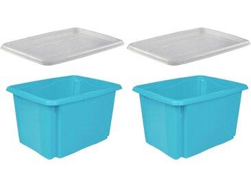 keeeper Stapelbox »emil« (Set, 2 Stück), mit Deckel, 44,5 x 34,5 x 27 cm, 30 Liter, 2er Set, blau, blau