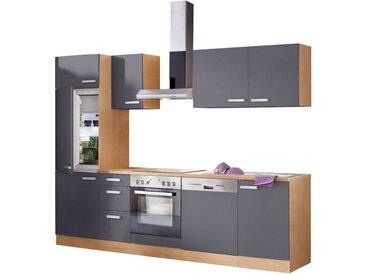 OPTIFIT Küchenzeile »Odense«, (Set), mit E-Geräten, Breite 270 cm, mit 28 mm starker Arbeitsplatte, mit Gratis Besteckeinsatz, grau, anthrazit