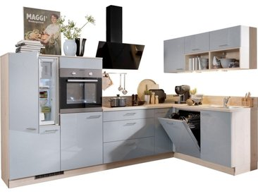 Express Küchen Winkelküche »Scafa«, mit E-Geräten, vormontiert, mit Vollauszügen und Soft-Close-Funktion, Stellbreite 305 x 185 cm, grau, Spüle rechts