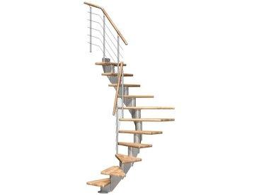 Dolle DOLLE Mittelholmtreppe »Frankfurt Eiche 75«, bis 301 cm, Edelstahlgeländer, versch. Ausführungen, natur, 1/2 gewendelt, natur