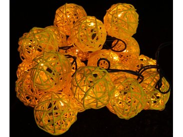 Guru-Shop LED-Lichterkette »Rattan Ball Kugel Lampion Lichterkette - gelb«, gelb, gelb
