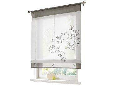 i@home Raffrollo »Bestickt Raffgardine Vorhang Gardine Fenstervorhang Scheibengardinen«, mit Schlaufen, grau, Grau