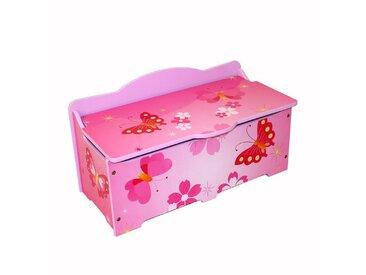 Homestyle4u Spielzeugtruhe, Spielzeugkiste Kinder Spielkiste *Schmetterling*, rosa, rosa