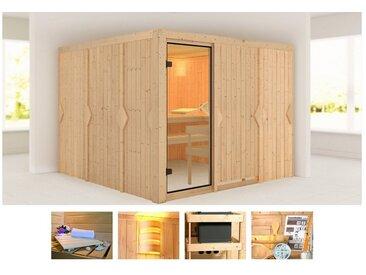 KONIFERA Sauna »Ferun«, 231x231x198 cm, ohne Ofen, natur, ohne Ofen, natur