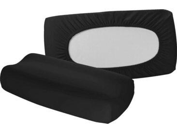 fleuresse Kissenbezüge »Vital comfort«, (2 Stück), für Nackenstützkissen mit Gummizug auf der Rückseite (2 Stück), schwarz, schwarz