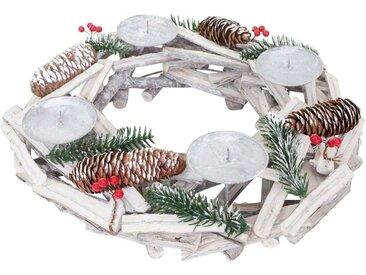 MCW Adventskranz »T870«, Ø 40 cm, Mit 4 Kerzenhaltern, Aufwendig geschmückt, weiß, weiß