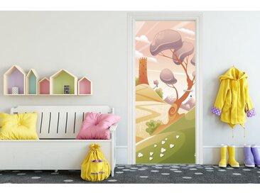 Bilderdepot24 Deco-Panel, Türaufkleber - Kinderbild Phantasielandschaft