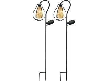 BONETTI Gartenleuchte »2er Pack Solar LED Gartensteckleuchte im Retro-Design« (2-St) Metall, Solarleuchten Garten, Solarstecker mit Einschaltautomatik