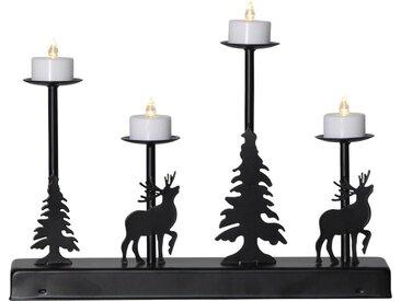 """STAR TRADING Kerzenleuchter »LED-Leuchter """"Walder"""" - 4flammig - warmweiße LEDs - L: 32cm, H: 25cm - Timer - Batterie - schwarz«"""