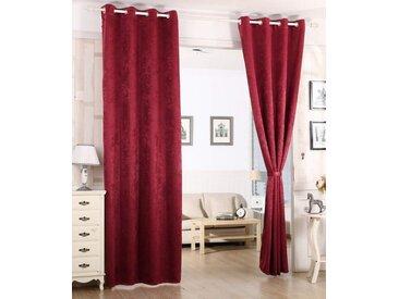 Woltu Gardine, Vorhang Blickdicht mit Ösen,Damast Optik 1 Stück, rot, bordeaux
