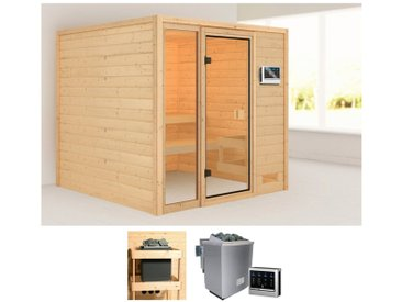 Karibu KARIBU Sauna »Jackie«, 196x196x187 cm, 9 kW Bio-Ofen mit ext. Steuerung, natur, 9 kW Bio-Kombiofen mit externer Steuerung, natur