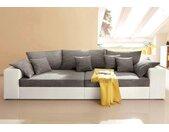 Nova Via Big-Sofa »Corona«, grau, Ohne Kaltschaum-mit Bettfunktion, weiß-grau - grau