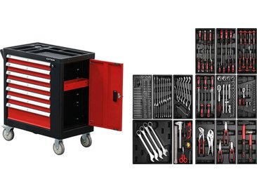 Kraftmann Werkstattwagen, befüllt, (197-tlg), 7 Schubladen, 1 Seitentür