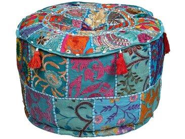 Casa Moro Pouf », Indischer Patchwork Pouf Desna Ø 40cm Höhe 25cm inklusive Füllung, Runder Polsterhocker Sitzkissen Handmade Sitzpouf für einfach schöner Wohnen«, Kunsthandwerk, MA612