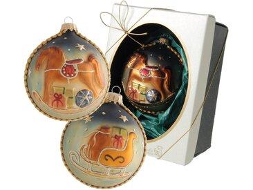 Krebs Glas Lauscha Weihnachtsbaumkugel »Schaukelpferd« (1 Stück), mit Schaukelpferd- und Schlitten-Motiv
