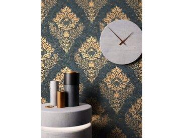 Newroom Vliestapete, Blau Tapete Barock Ornament - Barocktapete Schwarz Gold Glamour Modern Prunk für Wohnzimmer Schlafzimmer Küche, blau, Ornament