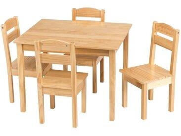 COSTWAY Kindersitzgruppe »Kindertischgruppe Kindertisch«, (5-tlg), natur, Natur