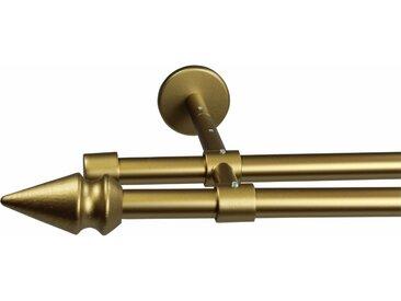 GARESA Gardinenstange »Spyrna«, Ø 16 mm, 2-läufig, Wunschmaßlänge, goldfarben, 2 läufig, mattgoldfarben