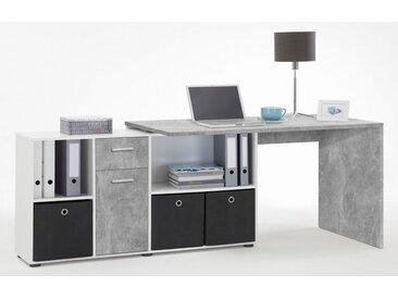 FMD Eckschreibtisch »Lex«, grau, betonfarben-weiß