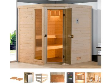 weka WEKA Sauna »Arendal 2«, 198x198x205 cm, 7,5 kW Bio-Kombiofen mit ext. Steuerung, natur, 7,5 kW Bio-Kombiofen mit externer Steuerung, natur