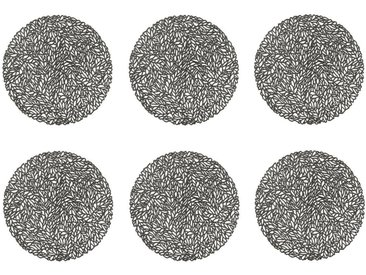 Zeller Present Platzset, »Leaves«, (Set, 6-St), grau, anthrazit