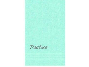Lashuma Badetuch »London« (1-St), Besticktes Saunahandtuch 100x150 cm, Personalisiertes Handtuch XXL mit Name, grün, hellmint