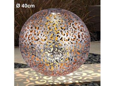 etc-shop LED Solarleuchte, LED Design Solar Kugel Steck Leuchten rost silber Garten Außen Erdspieß Lampen Terrasse, silber antik D 40 cm
