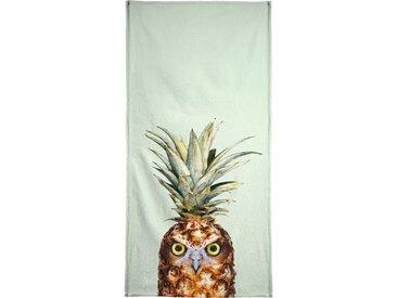 Juniqe Strandtuch »Pineapple Owl« (1-St), Weiche Frottee-Veloursqualität