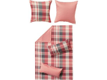 REDBEST Bettwäsche, Karo Reißverschluss Satin, rot, 1 St. x 135 cm x 200 cm, rot-grau-weiß