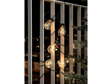 KONSTSMIDE LED Biergartenkette, schwarz, 50 LEDs, Lichtquelle Bernstein (Amber), Schwarz