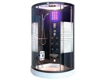 HOME DELUXE Komplettdusche »Dampfdusche Black Pearl«, BxTxH: 90x90x220 cm, mit LED Beleuchtung und Radio, silberfarben, ohne Antikalk-Versiegelung