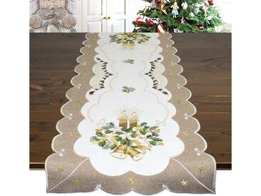 Delindo Lifestyle Tischläufer »KERZE & GLOCKE« (1-tlg), Glattes Gewebe, bestickt