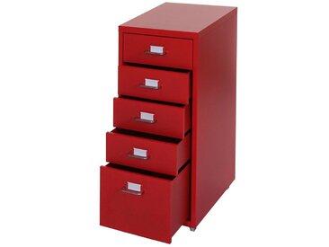 MCW Rollcontainer »T851-5«, 5 Schubladen mit Vollauszug und Haltegriffe, Mit Etiketten und Etikettenhalter ausgestattet, rot, rot