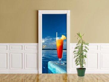 Bilderdepot24 Deco-Panel, Türaufkleber - Cocktail am Swimmingpool