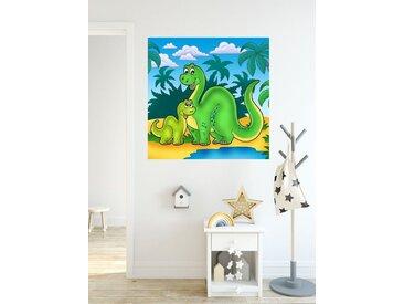 Bilderdepot24 Deco-Panel, Fototapete Dino Kindertapete - Familie, bunt, Farbig