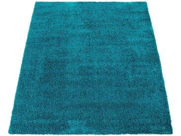 Paco Home Hochflor-Teppich »Nox 270«, rechteckig, Höhe 35 mm, Hochflor-Shaggy, einfarbig und weich, Wohnzimmer, blau, türkis